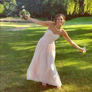 Bill Levkoff Blush Pink Long Bridesmaid Dress